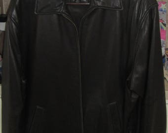 Jos. A. Bank-LINED Leather Jacket FULL FRONT Zip-Black-Medium-Nice!