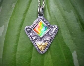 Ammolite Mixed Metal Pendant * Textured Gemstone Pendant *Artisan Metalsmith Jewelry * Reticulated Jewelry