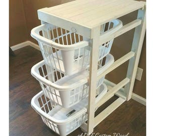 Laundry basket holder. Distressed wood laundry basket holder. Laundry basket storage. Laundry room decor. Free shipping.