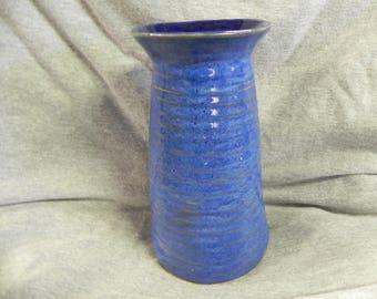 studio pottery vase blue cylinder ceramic pottery