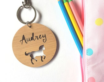 Horse-Pony-Bag Tag / Keyring Wood Bamboo Personalised Custom-school-kinder-wooden-school bag-bamboo-personalized keyring-teacher gift