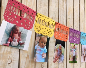 Papal Picado First Year Monthly Photo Banner | First Fiesta Decorations | First Birthday Banner