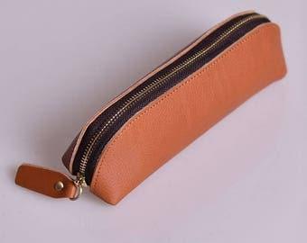 Leather pencil zipper case, Pencil Pouch, Leather Makeup Brush Case, Shaving Bag, Stationery Pencil Pen Case, Art Pouch