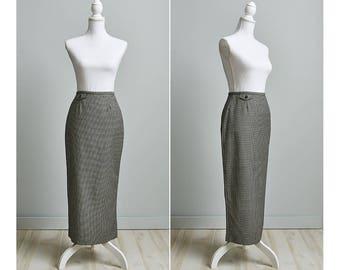 Midi Skirt, High Waisted Skirt, 90s Pencil Skirt, JCREW Herringbone Pencil Skirt