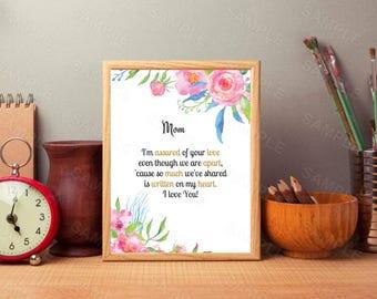 Mom, I'm Assured, Grace Series,  Wall Decor, Instant Download, Printable Moms Decor, Digital Art Print, Mother's Day Printable