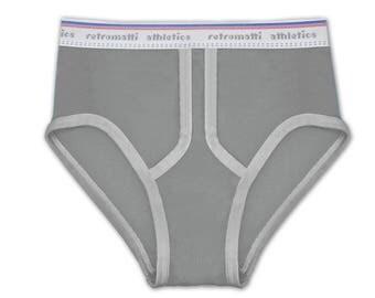 Gray High Waist Retro Briefs, new, jockey briefs, 80s, 70s, vintage underwear, y fronts, mens briefs, modern, school