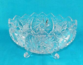 Vintage Crystal Oval Footed Serving Bowl