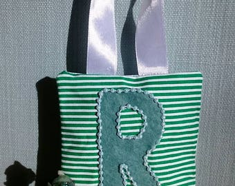 GREEN stripe tooth fairy pouch door-hanger with GREEN letter, GREEN beaded border, and green diagonal pocket on reverse for tooth/coin.
