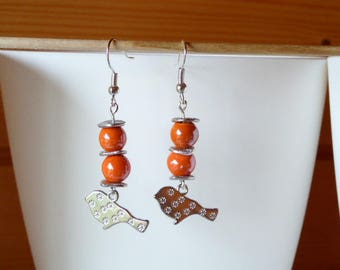 Earrings silver and orange ceramic beads