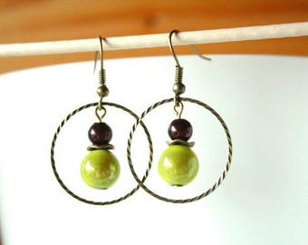 Bronze earrings pearls magic light green and Brown