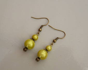 Bronze earrings and lemon yellow magic pearls