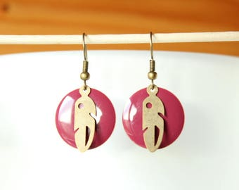 Bronze sequin raspberry pink enamel and tribal feather earrings