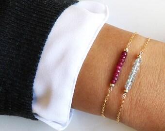 Gemstone Birthstone Bracelet - Bridal Wedding Bride Bridesmaid-Simple Minimal-14k Gold Filled, Rose Gold Filled, Sterling Silver - CG292B