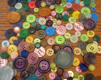 220 Buttons Vintage Buttons Colorful Mix Red Blue Green and More