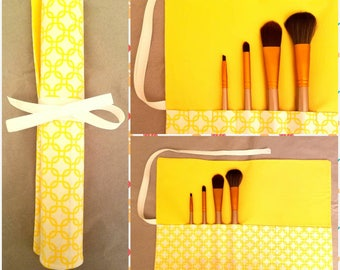Makeup Brush Roll, Summertime Yellow