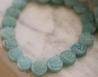 Natural Amazonite Carved Flower Beads 12mm (8 pieces)