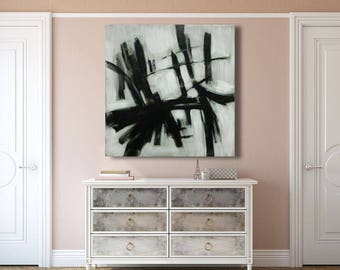 large painting abstract outline black and white textured