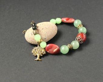 Tree of life jewelry bracelet Red carnelian bracelet Jasper mookaite bracelet Jade bracelet Health energy bracelet Brown gemstones bracelet