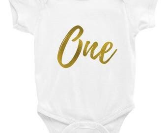 Number One Onesie - Infant Bodysuit - Baby Clothing - 1st Birthday - Birthday One - Baby Onesie