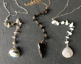 NEW, Gemstone Lariat Necklace, Moonstone Necklace, Labradorite Necklace, Onyx Necklace, Lariat Necklace, Gemstone Jewelry, Long Necklace