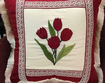 Handmade hand embroidered red tulip pillow