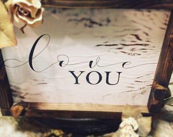 Handmade vintage farm syle sign•Love you•unique•rustc