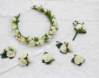 white bridal flower crown white flower crown bridesmaid white hair accessories rose flower comb white bridal hair pin flower girl crown