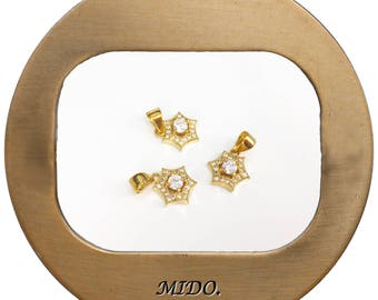 Hexagonal Star Charm /Brass with CZ Pendant / without Polished / 5pc / 17-169