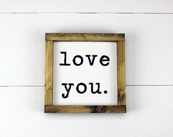 I love you, Love you, I Love You Sign, Handmade Wood Sign, Sign of Love, Typewriter Sign, Love Note, Rustic Wood Sign, Valentine's Day Gift