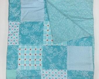 Scrappy Aqua Recieving Blanket