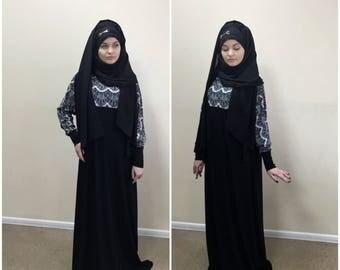 Black and white lace Maxi Dress Plus Size, Prayer dress, Farasha Caftan, Boho dress,Muslim dress, abaya Dress,Modern hijab, Burqa