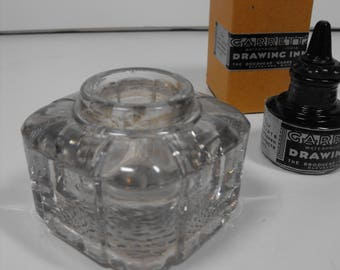 Antique Glass Ink Well with Misc. Calligraphy Accessories   (1427)