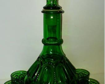 Vintage green glass decanter set