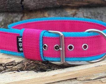 "Dog collar - dog - collar strap - collar Doggy ""Colors - Fuchsia/Turquoise"