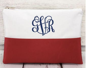 Red and White Color Block Cosmetic Bag, Monogrammed Makeup Bag, Monogrammed Clutch, Monogrammed gift, Personalized Bag, Bridesmaid Gift