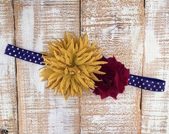 Fall Headband, Vintage Headband, Navy, Mustard & Wine Headband, Navy Blue Headband, Newborn Headband, Girls Headband, Photography Prop,