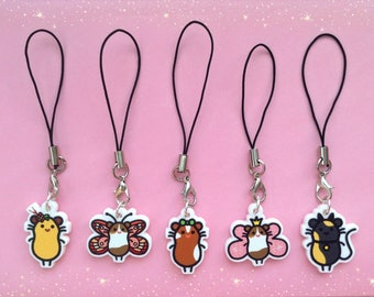 5 Cute Guinea Pig Phone Charm Designs - Ladybugpigs Collection, Laser Cut on White Acrylic, Animal Cavy Cell Accessory, Gifts for Pet Lover