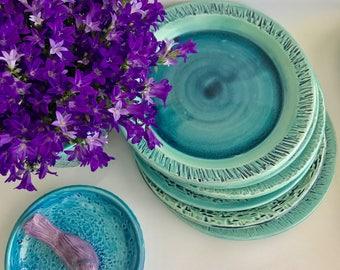 Set of 6 Handmade Lapis Green Ceramic Salad/Dessert Plates