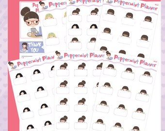 Peppermint Planner and Her PR Team -- Planner Sticker -- Peek A Boo Stickers -- #433