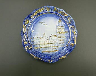 Decorative Wall Plate ~ London Houses of Parliament ~ Blue and Gold ~ Relief Molded