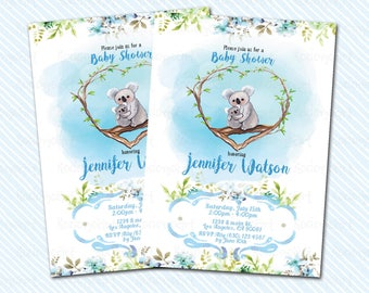 Digital Printable baby Shower Invitation. Koala invitation