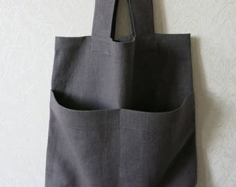 Natural linen tote bag, burlap shopping bag, rustic linen bag, Gray linen tote bag