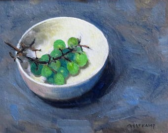 oil painting // still life of grapes in a bowl //artistic work of art // hand-painted impressionism contemporary art