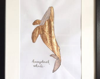 Rosé Golden humpback whale / / rose gold humpback whale