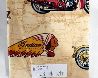Fabric 1 Yard Piece Classic Indian Motorcycle Brown