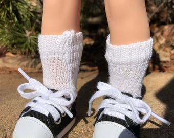 White Crew Socks for Wellie Wishers Doll