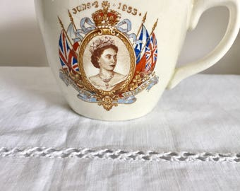 1953 commemorative cup celebrating the coronation of Queen Elizabeth.