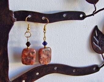 Brown fleck stone earrings