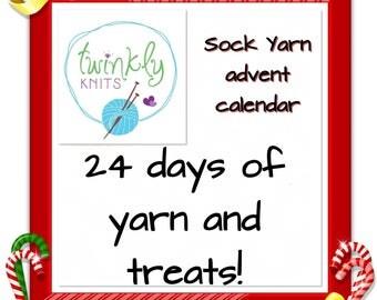 Sock yarn advent calendar - PRE ORDER- 4 ply yarn and added treats - 250g yarn