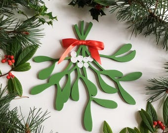 Wooden Mistletoe Decoration - Artificial Mistletoe - Christmas Decoration - Mistletoe Kisses - Christmas Door Decor - Large Xmas Ornament